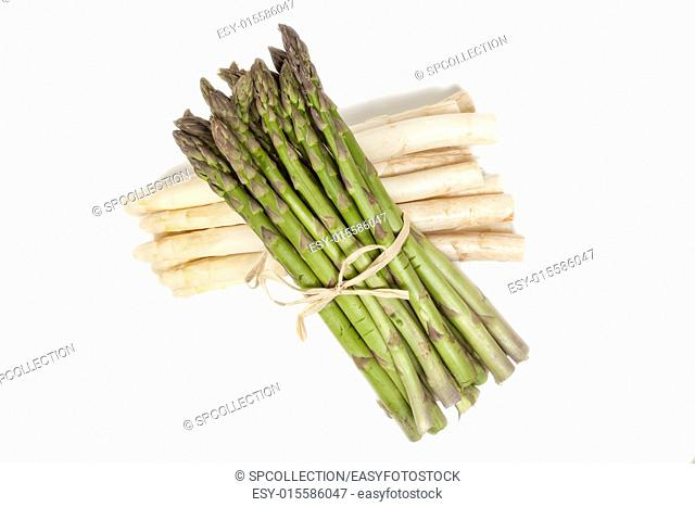 Green and white asparagus isolated