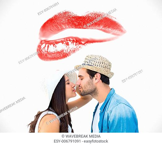 Composite image of happy hipster couple about to kiss