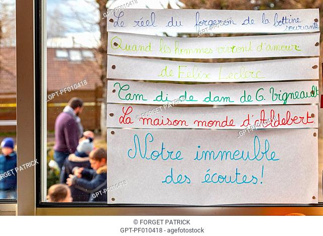 IMMEUBLE DES ECOUTES (BUILDING OF LISTENING) TO LEARN SONGS AND LISTENING TO MUSIC IN CLASS, PRIMARY SCHOOL IN THE TOWN OF RUGLES, EURE, NORMANDY, FRANCE
