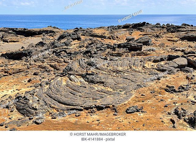 Lava landscape, Pahoehoe lava, Bartolomé Island, Galapagos Province, Galapagos Islands, Ecuador
