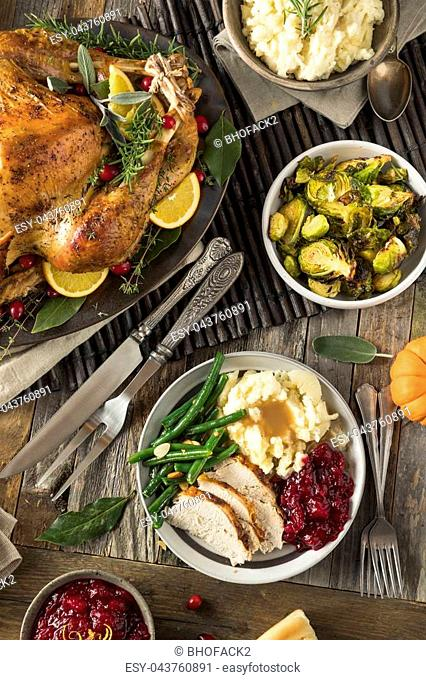 Homemade Thanksgiving Turkey Dinner with All the Sides