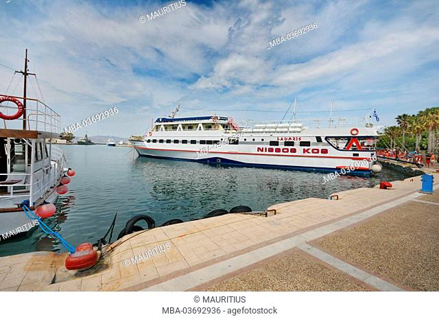Cos (island), Greece, Dekodanes, Akti Kountouriotou, harbour, ships, sea