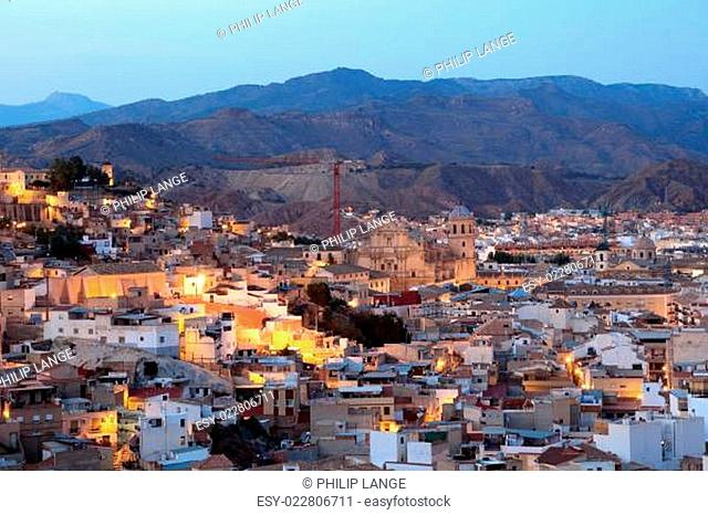 Od town of Lorca with the cathedral. Province of Murcia, Spain