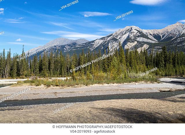Athabasca River and the Canadian Rocky Mountains in the background, Jasper National Park, Alberta, Canada