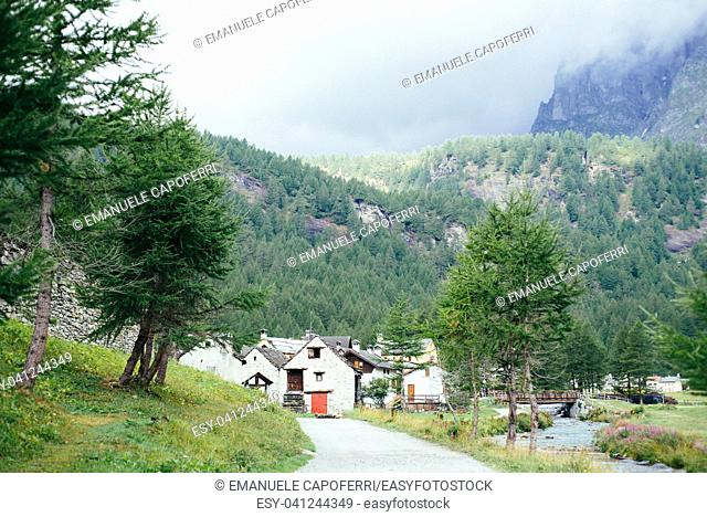 Traditional alpine village in Divedro Piedmont valley, alpe Devero Piedmont; Italy