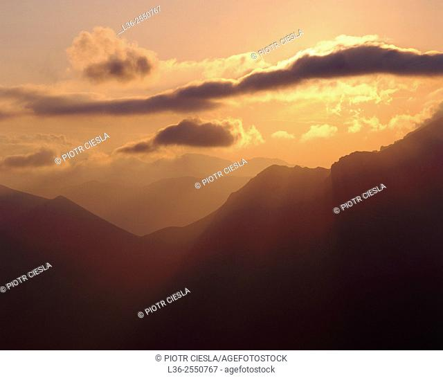 Tatra mountains. Sunset. Poland