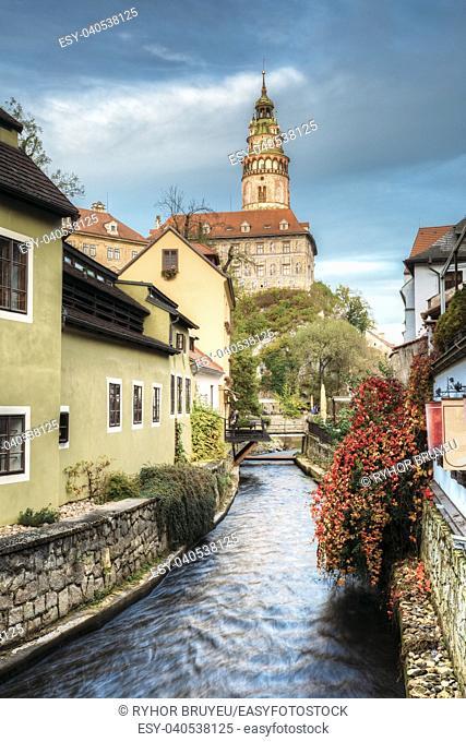 Castle tower in Cesky Krumlov, Czech republic. Autumn evening. UNESCO World Heritage Site