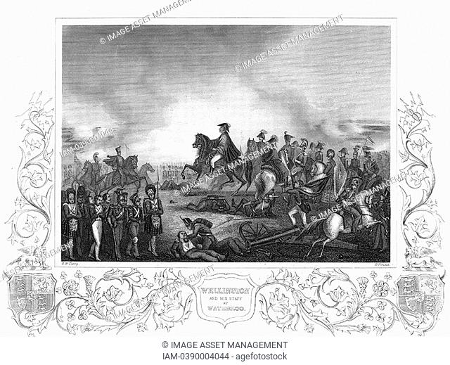 Arthur Wellesley, Duke of Wellington 1769-1852 with his staff at the Battle of Waterloo 18 June 1815  Engraving
