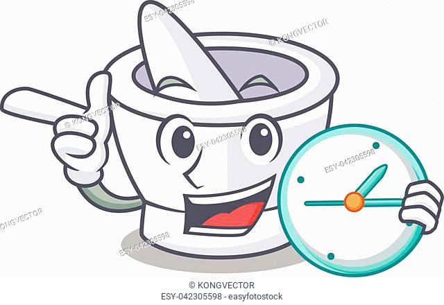 With clock mortar character cartoon style vector illustration