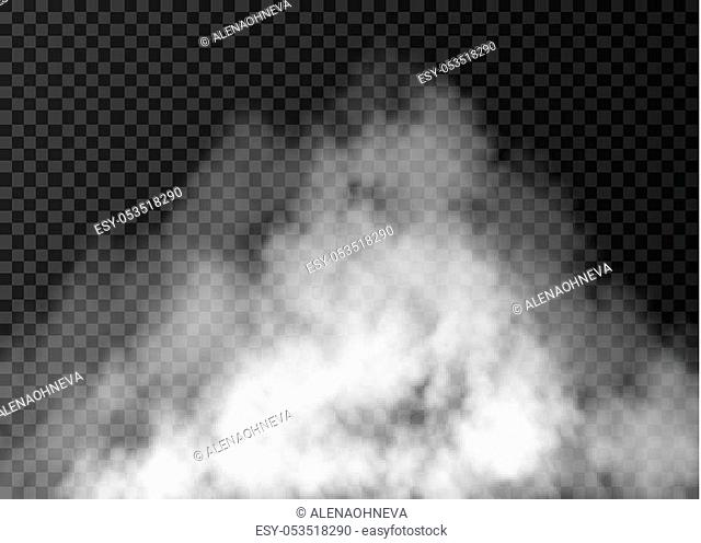 White fog effect isolated on transparent background. Realistic vector fire smoke or mist texture