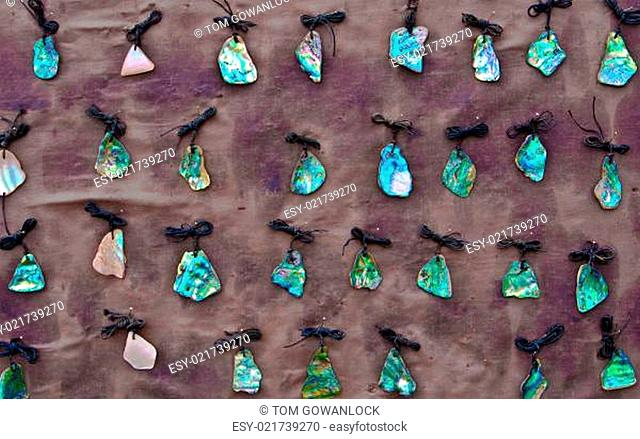 Collection of jewelry made from New Zealand paua shells
