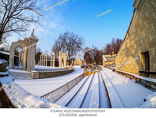 Poland, Masovian Voivodeship, Warsaw, Royal Baths Park, Theatre on the isle