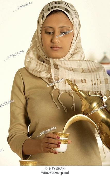 Arab lady with a cup of tea