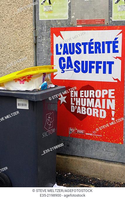 Poster against European austerity plans