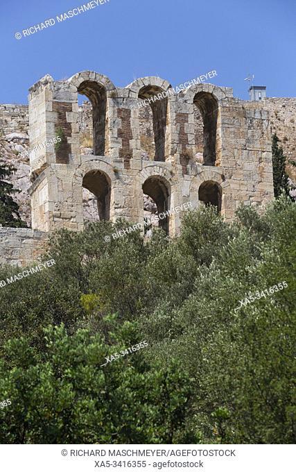 Wall, Herodes Atticus Theatre, Acropolis, Athens, Greece
