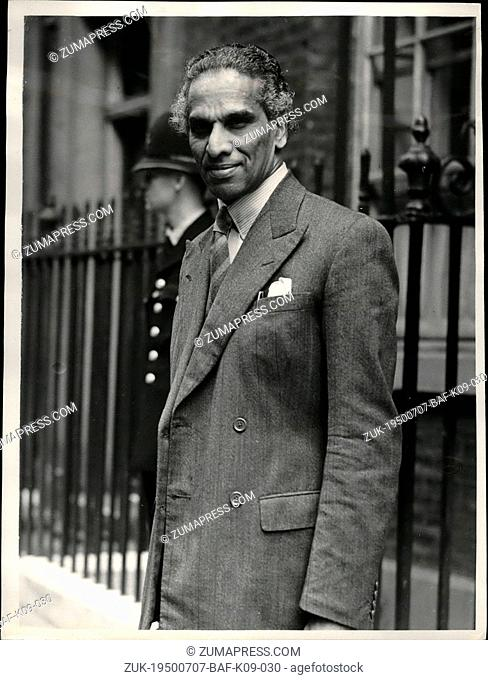 Jul. 07, 1950 - Indian High Commissioner visits No. 10.: Photo shows mr. Krishner Menon, the Indian High Commissioners photographed as he leaves No