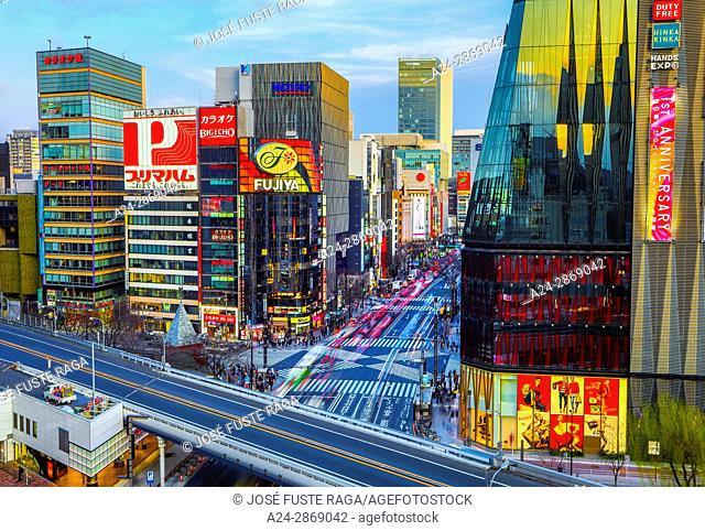 Japan, Tokyo City, Ginza area, Harumi Dori avenue