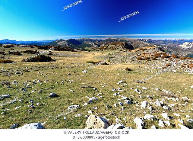 View from Mont Arpille. Grasse back-country, Parc naturel régional des Préalpes d'Azur, Alpes-Maritimes, 06, Cote d'Azur, PACA, France