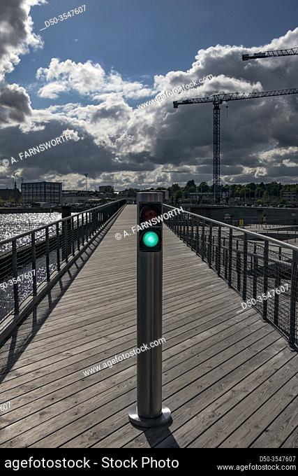 Aarhus, Denmark A green light on a walkway in the new Docklands urban and residential development project