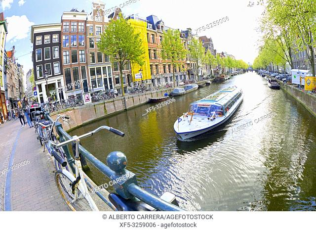Urban Canal, Street Scene, Amsterdam,Holland, Netherlands, Europe