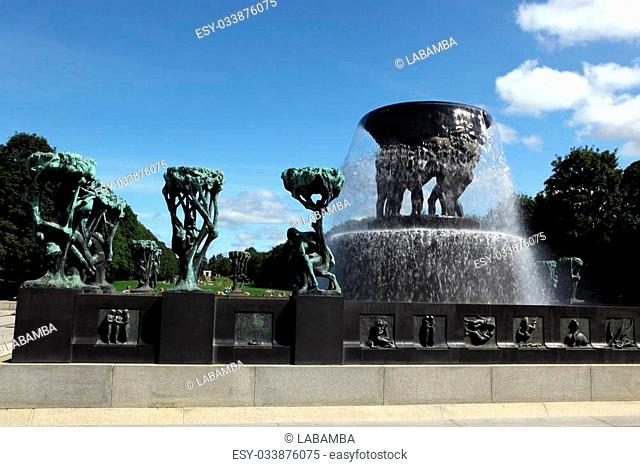 OSLO, NORWAY- JULY 26: Statues in Vigeland park in Oslo, Norway on July 26, 2012. The park covers 80 acres and features 212 bronze and granite sculptures...