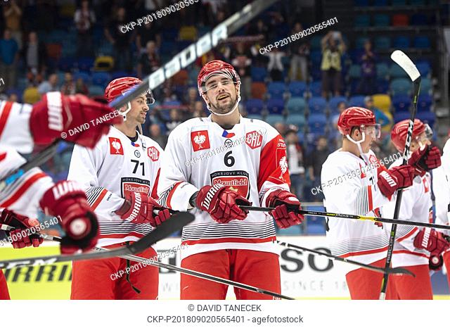 Hockey players L-R MATEJ CHALUPA and LUKAS CINGEL of Hradec celebrate a goal during the Ice hockey Champions League matches group F Mountfield Hradec Kralove vs