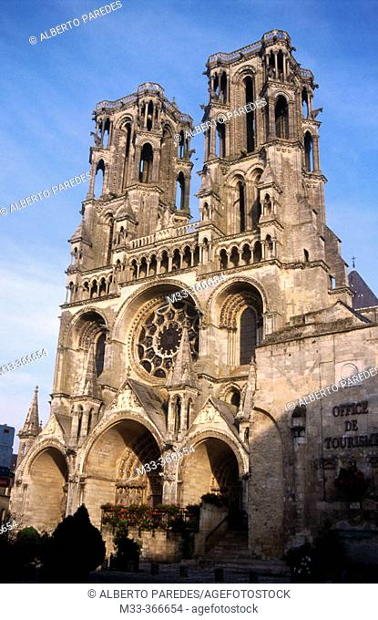 Laon cathedral. Picardy region. North of France