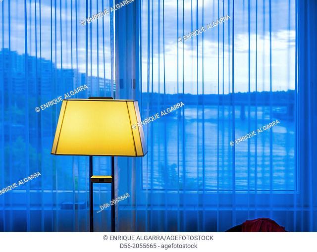 Lamp in a hotel room, Helsinki, Finland