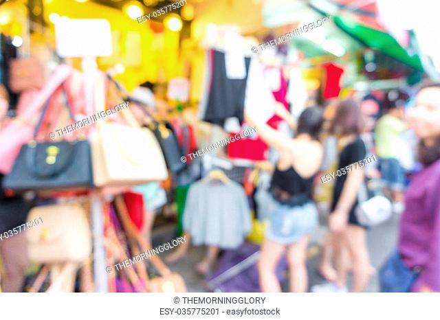Abstract blurred people shopping at Jatujak market, Bangkok Thailand