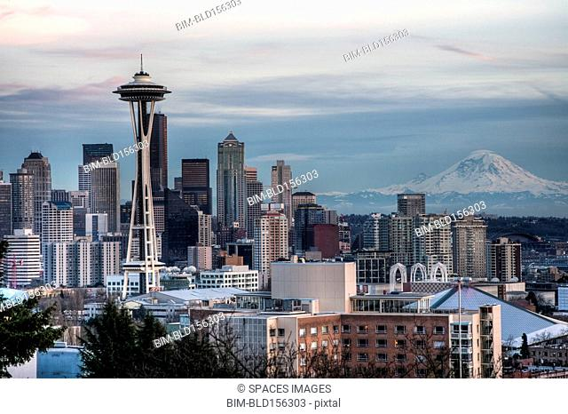 High rise buildings in Seattle city skyline, Washington, United States