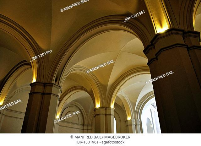 Bavarian State Library, lobby, ceiling vault with pillars, Munich, Bavaria, Germany, Europe