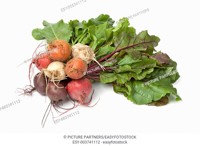Bunch of fresh mixed color beets on white background