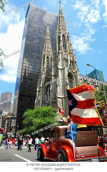USA, New York, New York City, the Puerto Rican Parade along the Fifth Avenue , in Front of the Saint Patrick Cathedral