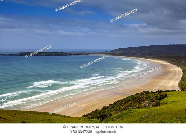 A Long Sandy Beach From Florence Hill Lookout, The Catlins, South Island, New Zealand