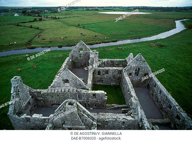 Bird's eye view of Ross Errilly Friary, also known as Ross Abbey, 14th-15th century, in the vicinity of Headford, Connemara, County Galway, Ireland