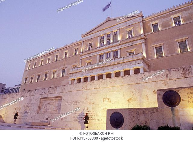 Athens, Greece, Parliament, Europe, House of the Greek Parliament at Plateia Syntagmatos (Constitution Square) in the evening in downtown Athens