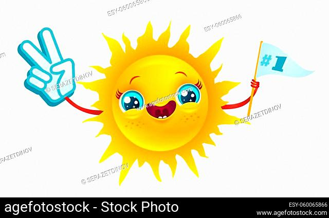 Vector icon of sun on isolated background. Vector illustratuon of sun with in kawaii style. Smile and Peace