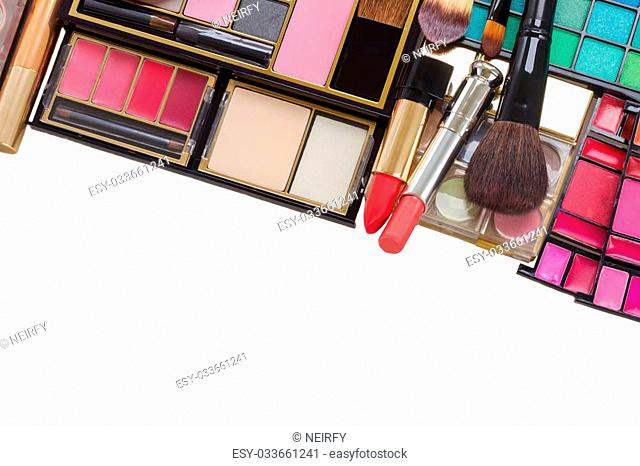 make up products border isolated on white background