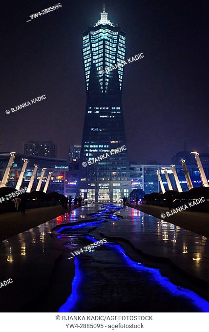 West Lake Cultural Square with Global Centre skyscraper, Xiacheng District, built in 2002 and used for science, arts, entertainment, leisure and business