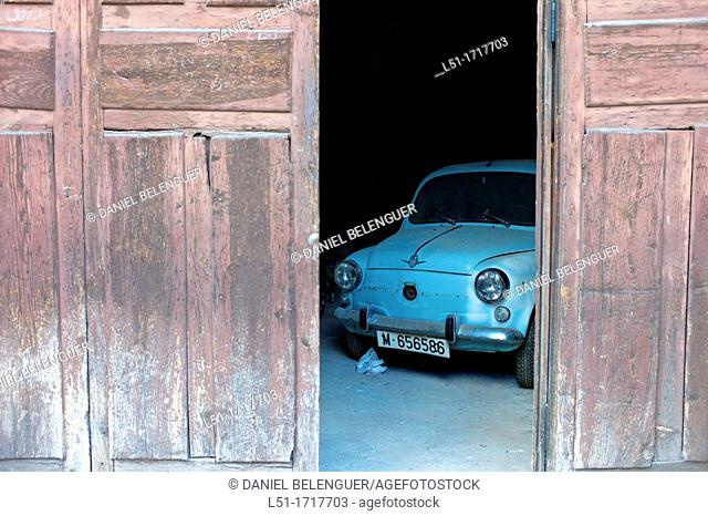 old blue car on a garage, Soria, Spain