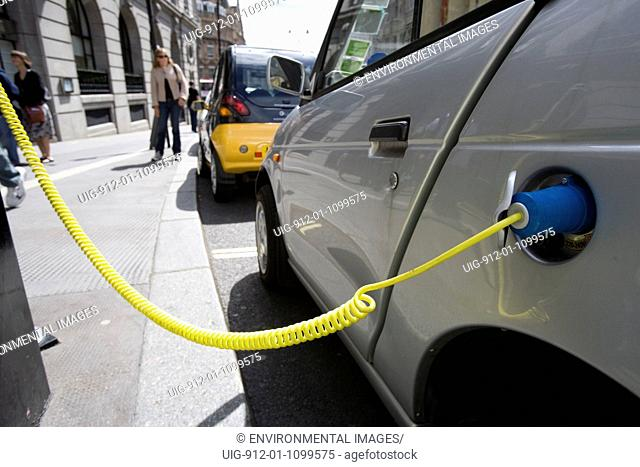 Electric car at charging point in Covent Garden, London
