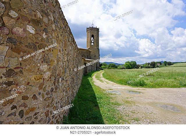 Sant Genis Church tower. Monells, Girona, Catalonia, Spain, Europe