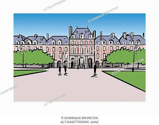 Illustration of Place des Vosges in Paris, France