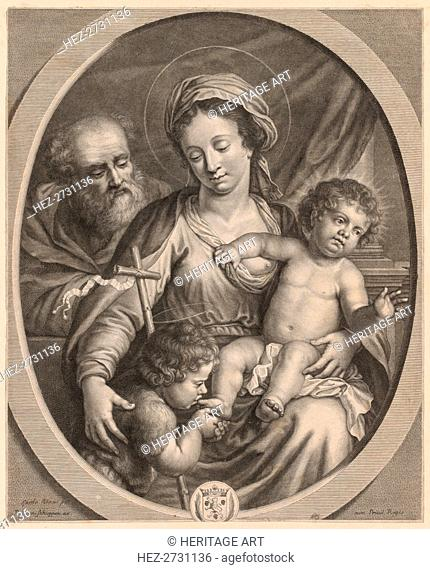 Holy Family and S. John. Creator: Pierre Louis van Schuppen (Flemish, 1627-1702)
