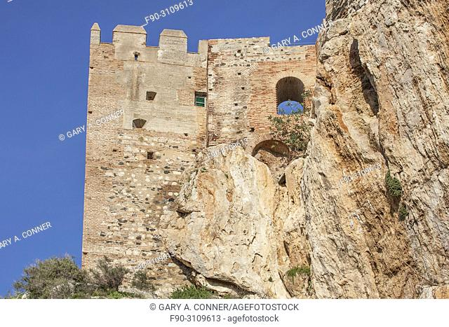Moorish Castle perched on rock, Salobreña, Granada, Spain