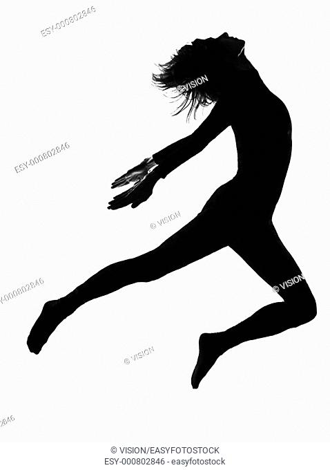 woman in shadow silhouette full length in studio isolated white background