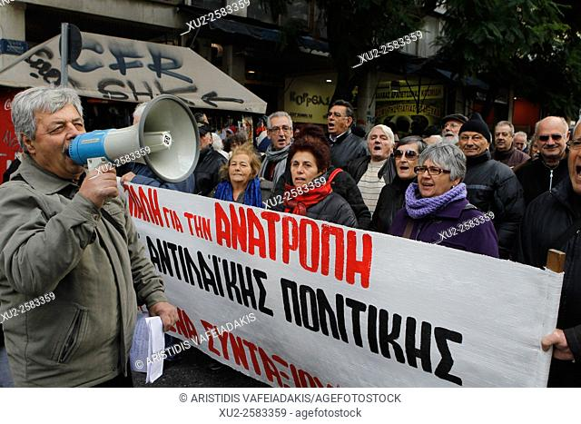 Pensioners protest against new austerity measures in the center of Athens