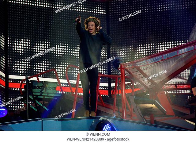 One Direction perform in Edinburgh tonight as part of their 'Where We Are Stadium Tour 2014' to thousands of fans at Murrayfield Stadium Featuring: Harry Styles