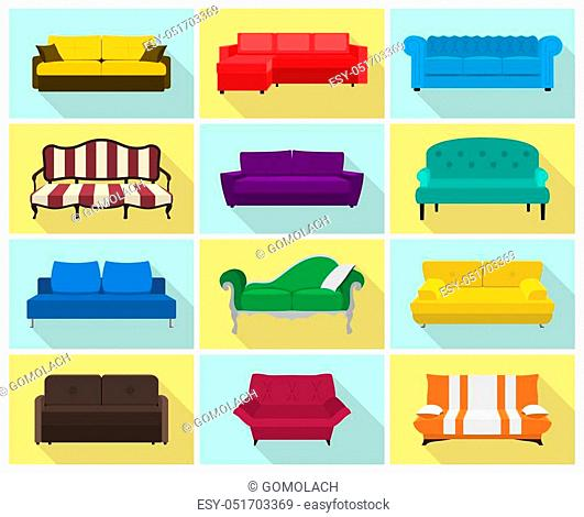 Vector sofa icon set. Colored collection in flat style with long shadows - modern, retro, hi-tech etc. Templates for interior design