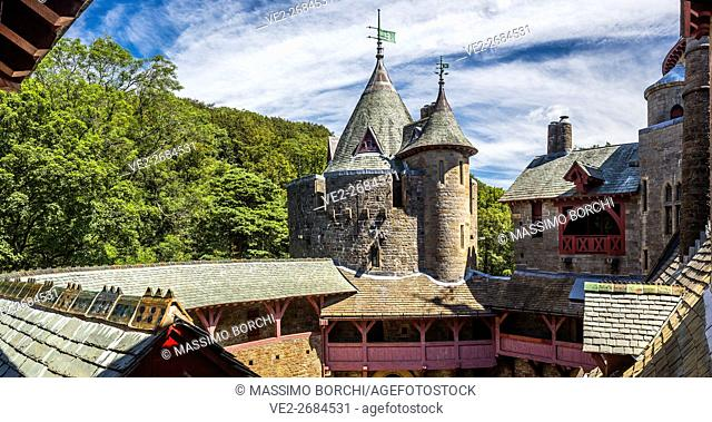 View of Castell (castle) Coch, AD 1875-1879, designed by William Burges in Victorian Gothic Style, Tongwynlais, Cardiff, Wales, UK
